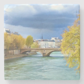 Seine River Under April Skies Stone Coaster