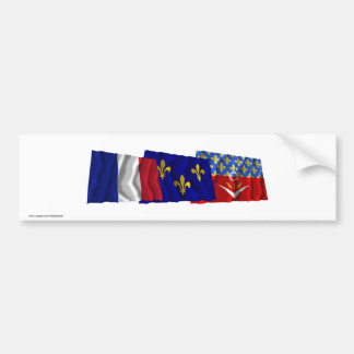 Seine-Saint-Denis, Île-de-France & France flags Bumper Sticker