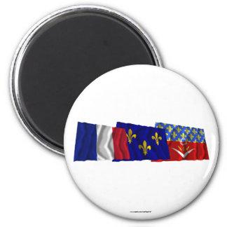Seine-Saint-Denis, Île-de-France & France flags Refrigerator Magnet