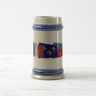 Seine-Saint-Denis, Île-de-France & France flags Beer Steins