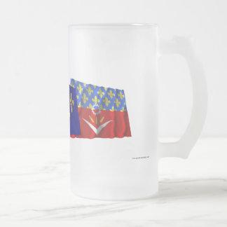 Seine-Saint-Denis, Île-de-France & France flags 16 Oz Frosted Glass Beer Mug