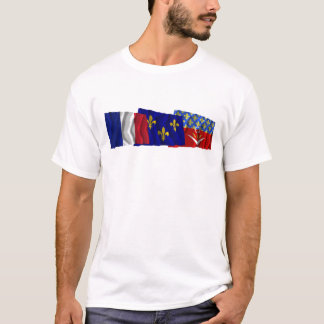Seine-Saint-Denis, Île-de-France & France flags T-Shirt