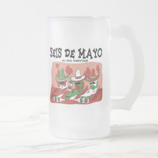 Seis de Mayo Frosted Glass Beer Mug