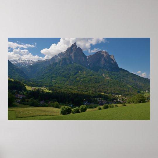 Seis Schlern Mountain Castel Ruins Hauenstein Poster