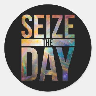 Seize the Day Black Round Sticker
