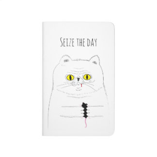 Seize the Day Funny Cat with Mouse Journal