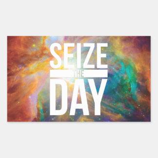 Seize the Day Nebula Rectangular Sticker