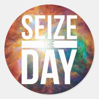 Seize the Day Nebula Round Sticker