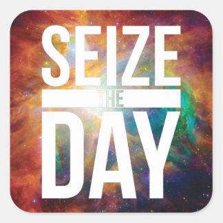 Seize the Day Nebula Square Sticker