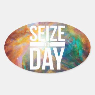 Seize the Day Nebula Oval Sticker