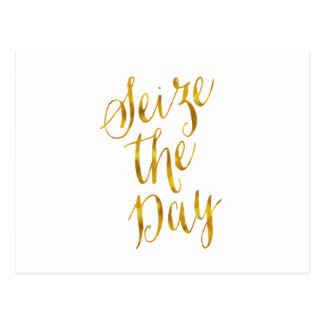 Seize The Day Quote Faux Gold Foil Metallic Design Postcard