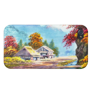 Seki K Country Farm by Stream in Autumn scenery iPhone 4 Covers