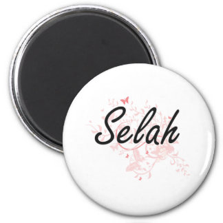 Selah Artistic Name Design with Butterflies 6 Cm Round Magnet