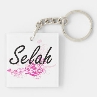 Selah Artistic Name Design with Flowers Double-Sided Square Acrylic Key Ring