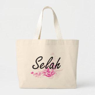 Selah Artistic Name Design with Flowers Jumbo Tote Bag