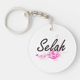 Selah Artistic Name Design with Flowers Single-Sided Round Acrylic Key Ring
