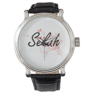 Selah Artistic Name Design with Hearts Wrist Watch