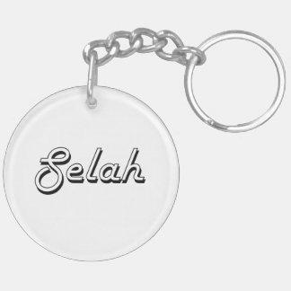 Selah Classic Retro Name Design Double-Sided Round Acrylic Key Ring