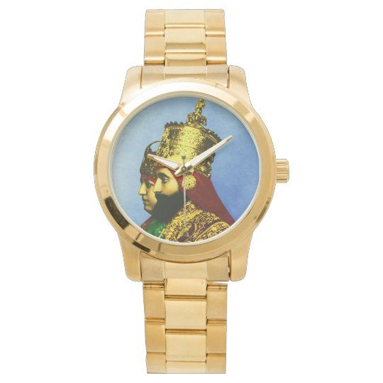 Selassie Rasta Reggae Ethiopia Gold Mens Watch