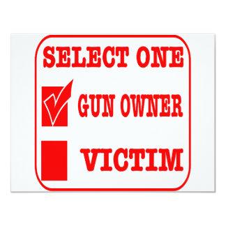 Select One Gun Owner or Victim 11 Cm X 14 Cm Invitation Card