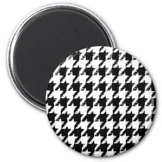 Select Your Colour Houndstooth Pattern 6 Cm Round Magnet