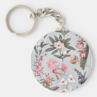 Selected State Flowers Vintage Art Illustration Key Chain