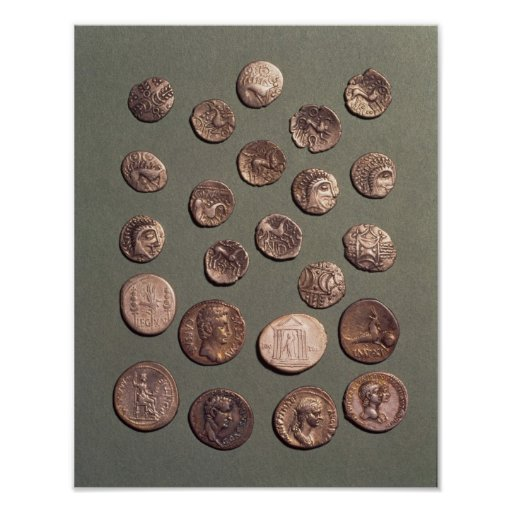 Selection Celtic and Roman  coins found Print