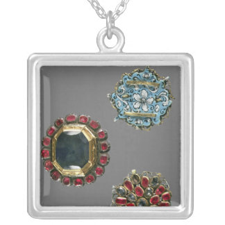 Selection of costume brooches silver plated necklace