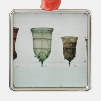 Selection of Frankish glasses, 4th-5th century Silver-Colored Square Decoration