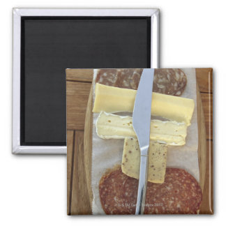 Selection of gourmet cheeses and cut meats square magnet