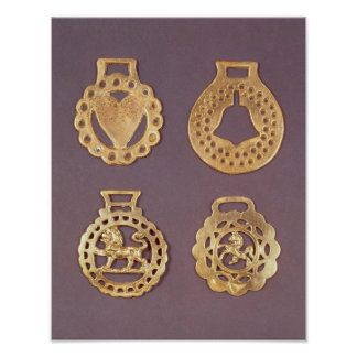 Selection of horse brasses poster