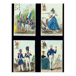 Selection of playing cards relating to post cards