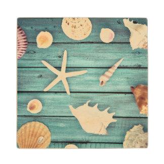 Selection Of Seashells Wood Coaster
