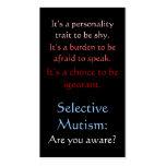 Selective Mutism Awareness Pack Of Standard Business Cards