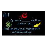 Selective Mutism for Kids space theme Pack Of Standard Business Cards