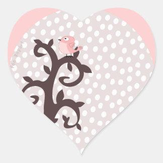 self-adhesive heart pink bird on tree arabesque