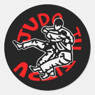self-adhesive judo ji jitsu round sticker