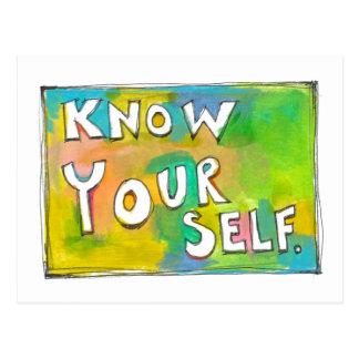 Self Awareness knowledge wisdom fun colorful art Postcards
