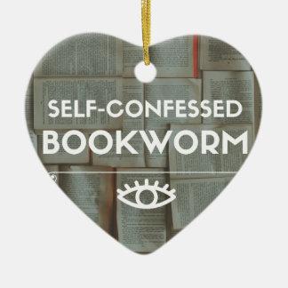 Self-Confessed Bookworm Ceramic Heart Decoration