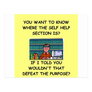 self help joke postcard