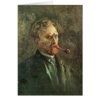Self-Portait with pipe by Vincent van Gogh Card