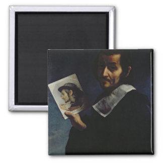 Self Portrait, 1674 (oil on canvas) Square Magnet