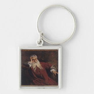Self Portrait, 1889 Silver-Colored Square Key Ring