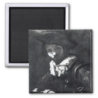 Self-portrait 2 square magnet