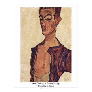 Self-Portrait A Face Cutting By Egon Schiele Postcard