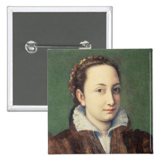 Self portrait, attired as maid-of-honour 15 cm square badge