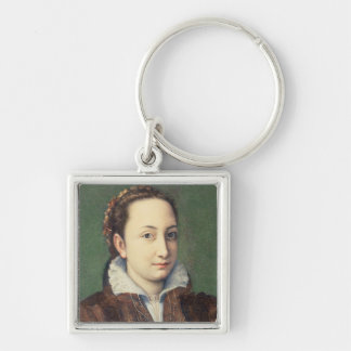 Self portrait, attired as maid-of-honour Silver-Colored square key ring