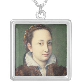 Self portrait, attired as maid-of-honour silver plated necklace