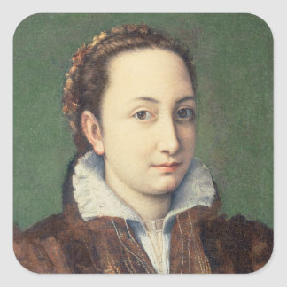 Self portrait, attired as maid-of-honour square sticker