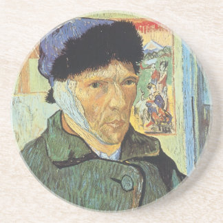 Self Portrait, Bandaged Ear by Vincent van Gogh Beverage Coasters